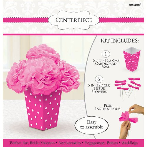 "Amscan Bright Dots Fluffy Flower Party Centerpiece, 11 x 10.5"", Pink"