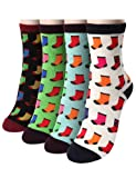 Doublju Womens Toe Crew Socks with Colorful Pattern 4 Pairs Set