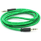 JYARA Fabric Woven Braided 3.5mm To 3.5mm Universal AUX TangleFree Auxiliary Cable For Car Stereo,Mobile Phones,CD,MP3,DVD,MP4 Players 1.5m Long Colorful Tangle Free. Compatible With Micromax X336