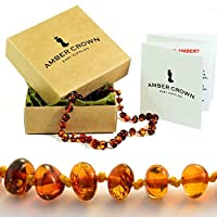 Amber Teething Necklace for Babies - Anti Inflammatory, Drooling and Teething Pain Reducing Natural Remedy - Made of Highest Quality Certified Baltic Amber - Perfect Baby Shower Gift - 100 Days 100% Satisfaction, Money-Back Guarantee! by Amber Crown