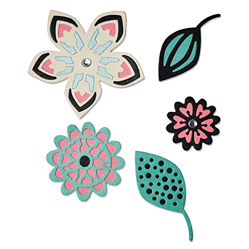 Fustella 5 fustelle thinlits fiore fiori foglie motivi tribali cut sweet floral 660500 Big Shot Sizzix carta cartoncino works with art squares Ellison