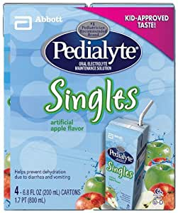 Pedialyte Singles Apple, Liquid, Tetra Brik Pak,  6.8 Ounce (Pack of 16)