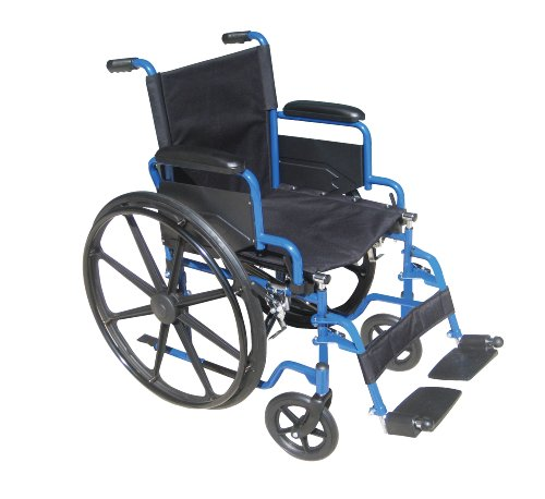 Drive Medical Blue Streak Wheelchair with Flip Back Detachable Desk Arms and Swing-away Foot Rest, Blue, 18
