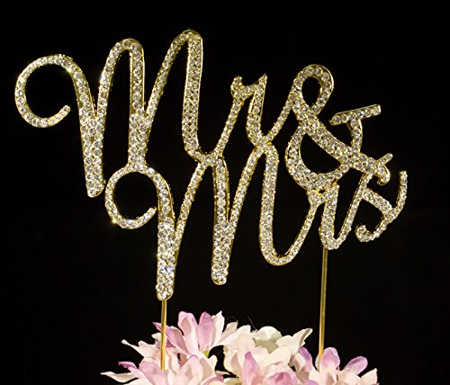 Mr & Mrs Gold Crystal Cake Toppers Bling Gold Cake Decorations Weddings Birthday Anniversary Showers Party by Yacanna