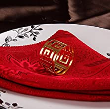 buy Homecube Napkin Rings Napkin Holder For Dinners Parties Wedding Holiday Napkin Buckles (Golden, Circle)