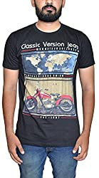 Stakoo Mens Cotton Tshirt(ST-2_XXL_Black_XX-Large)