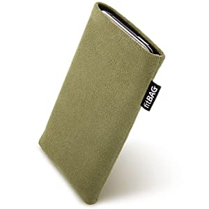 fitBAG Classic Khaki custom tailored sleeve for Samsung Galaxy Note GT-N7000. Genuine Alcantara pouch with integrated MicroFibre lining for display cleaning