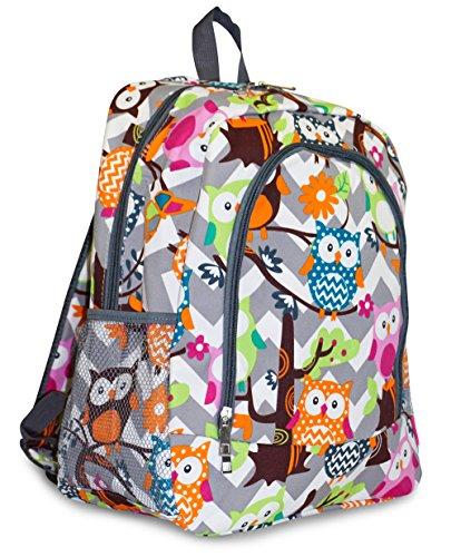 N. Gil Grey Chevron Owls Backpack School Bags