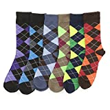 6 Pairs of excellent Mens Bright Argyle Colorful Dress Socks, Cotton Blend, #2800