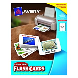 Avery custom print flash cards 2 5 x 4 for Avery flash cards template
