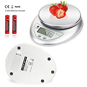 Etekcity Digital Kitchen Food Scale, Calibration Supported, ROHS/CE Approved, 0.01oz Resolution, 2 AAA Batteries Included, 11 Lb/5kg