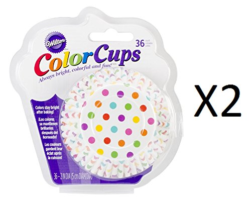 Wilton Rainbow Polka Dot Color Cups, 36 Pack, Cupcake Muffin Liners (2-Pack)