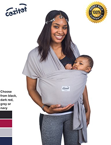 Find Bargain Grey Baby Wrap Carrier Sling by Cozitot® | Soft and Stretchy Baby Carrier | Baby Sling...