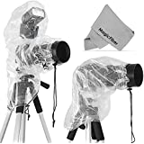 (2 Pack) Rain Covers for DSLR Cameras (Canon, Nikon, Sony, Pentax, Olympus, Fuji & More) - Including T5i T4i T3i T3 T2i SL1 70D 60D 7D 6D D7100 D5300 D5200 D5100 D3200 D3100 D810 - Includes: Large Cover for use with Flash + Regular Rainsleeve + MagicFiber Microfiber Cleaning Cloth
