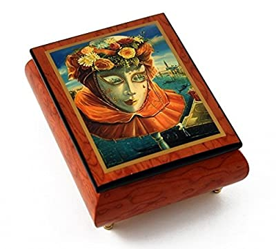 """Festive Painted Ercolano Music Box of a Carnival / Venetian Mask titled """"Memories of Summer"""" with 18 Note Tune-Diamond's Are A Girls Best Friend"""