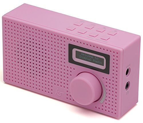 new kitsound pixel portable mini dab fm digital radio and alarm clock pink. Black Bedroom Furniture Sets. Home Design Ideas