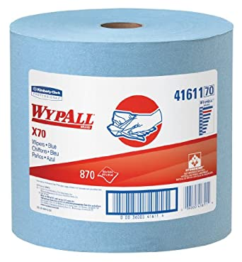 "Kimberly-Clark WypAll 41611 Disposable X70 Wiper, 12.5"" Width x 13.4"" Length, Blue (Roll of 870)"