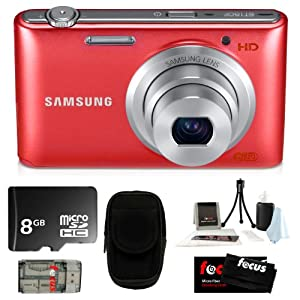 Samsung ST150F 16.2MP & F2.5 Lens with WI-FI Ready Smart Digital Camera Red + 8GB MicroSD HC Memory Card + Camera Case + Accessory Kit