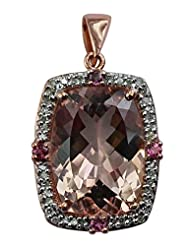 Carillon India Morganite 10.90 Ct & 0.17 Ct.Pink Tourmaline Gold Plated Diamond Sterling Silver Pendent
