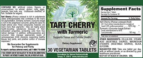 Natural Nutra Tart Cherry Extract Turmeric Curcumin Supplement, 95% Standardized, 30 Vegetarian Tablets