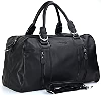 Tiding Men's Nappa Leather Travel Luggage Duffle Gym Bag