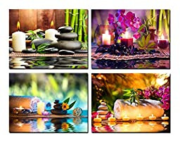 Artisweet Canvas Prints Framed Canvas Wall Art for Home Decor Waterproof Zen Basalt Stones and Bamboo Sap