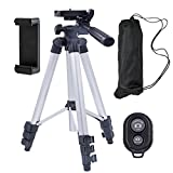 Conzy Aluminum alloy Portable and adjustable Tripod Stand Holder for iPhone, Cellphone ,Camera with Universal Clip and Remote (Silver)