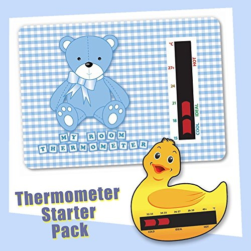 Baby Duck Bath & Blue Bear Nursery Room Thermometer Starter Pack - New Technology By Baby Thermometer Baby Safe Ideas