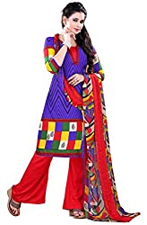 Swaman Women's Blue Red Synthetic Dress Material(0729LAD00016,Blue)