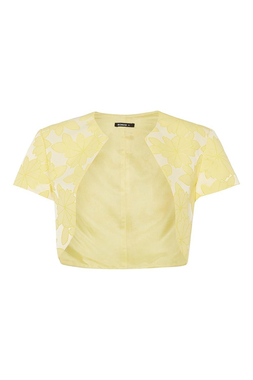 Roman Originals Jacken Damen Bolero mit Blumenmuster Zitrone Gelb Größe 38 bis 46 bestellen