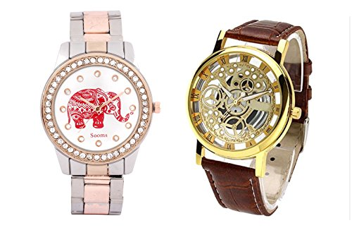 COSMIC TRANSPARENT WATCH FOR MEN WITH FREE BLACK BRACELET WATCH FOR LADIES HAVING GOLDEN PENDENT