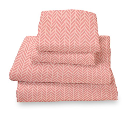 Queen Sheet Set Coral Herringbone - Double Brushed Ultra Microfiber Luxury Bedding Set By Where the Polka Dots Roam (Coral Sheet Set compare prices)