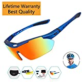 Sports Sunglasses For Men Women Cycling Glasses Polarized Baseball Running Fishing Driving Golf Hunting Biking Hiking With 5 Interchangeable Lenses (Blue Frame, 5 lens)