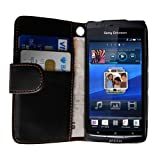 Black Leather Wallet Case Cover For The Sony Ericsson Xperia X12 Arcby Yousave Accessories