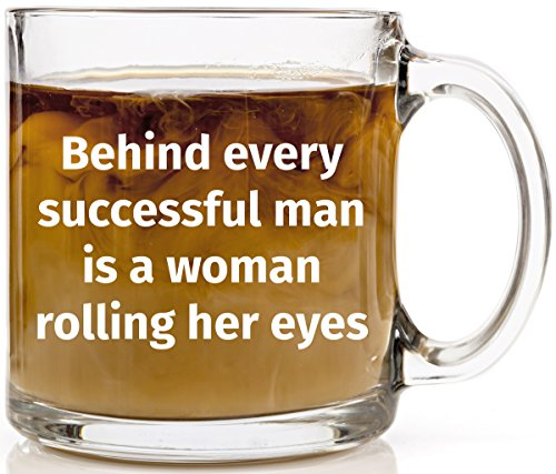 Behind every successful man funny glass coffee mug unique for Cool glass coffee mugs