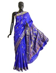 Royal Blue Swarnachari Silk Saree with All-Over Boota and Woven King and Queen Design on the Pallu - Silk