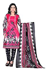 Fashionx Pink cotton printed unstitched dress material