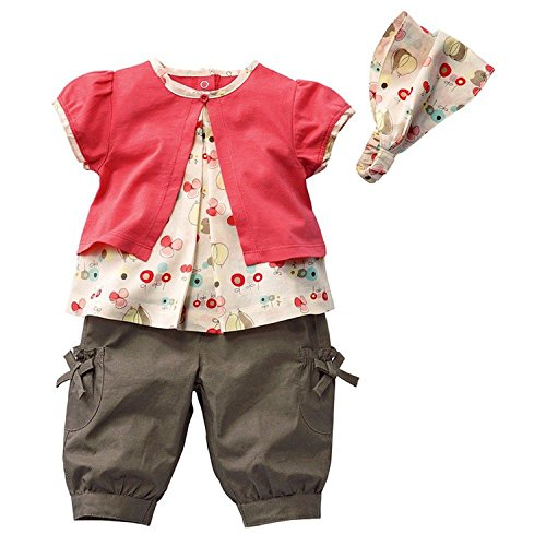 DAYAN Bambine Ragazze 3 Piece Sets Floreale camicia a maniche corte&pantaloncini color rosa size 90cm