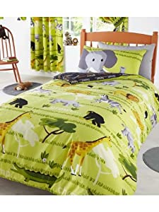 parure de lit housse de couette safari girafe jungle. Black Bedroom Furniture Sets. Home Design Ideas