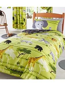 parure de lit housse de couette safari girafe jungle animaux 2 taies d oreiller 2 personnes. Black Bedroom Furniture Sets. Home Design Ideas