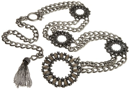 Jessica Simpson Women's Round Stone Ornament Buckle Chain Belt