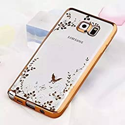 Samsung Galaxy S7 Case,Inspirationc® [Secret Garden] Gold and White TPU Plating Clear Shiny Cover Series for Samsung Galaxy S7--Swarovski