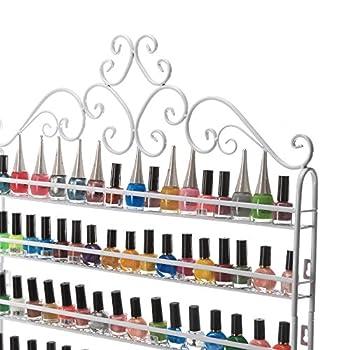 Dazone DIY Mounted 6 Shelf Nail Polish Wall Rack Organizer Holds 120 Bottles Nail Polish or Essential Oils White