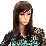 Hsg Elegant Women Medium Length Wigs Long Wavy Wigs Oblique Bangs Dark Brown Curly Wigs Jfg006
