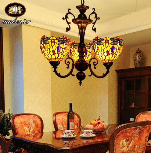 Vetro Tiffany Dragonfly colorato lampadario retrš° 3 fiale
