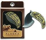 Alaskan Travel Ulu Pocket Knife with Cultured Moose Antler Handle