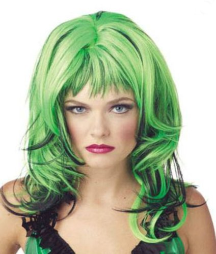 Wig Hard Rockin Witch Black Green Costume Accessory