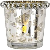 Luna Bazaar Vintage Mercury Glass Candle Holder With Rhinestones (2.5 Inch, Silver) For Use With Tea Lights For...