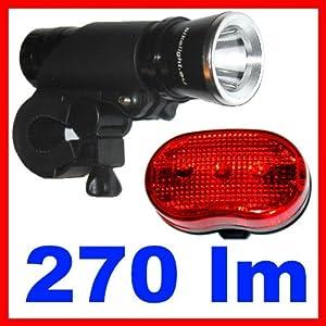 LED Fahrradlicht Fahrradlampe Bikelight Taschenlampe bikelight.eu Cree lux 270 LM + Rücklicht - SI