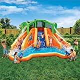 """Swimming Pools & Waterslides for Kids, Banzai Twin Falls Lagoon, 16'8""""L x 11'10""""W x 8'4""""H Inflatable Water Slide"""